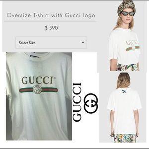 Brand new gucci logo white tee